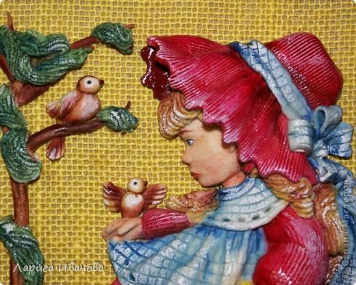 """""""Три орешка для белочки"""" или """"Рыжая Маринка"""", посвящается Марине Васевой, которая, как оказалось, в детстве была хорошенькой рыженькой девочкой))). Размер работы 20х20 см, в качестве трех орешков - три крупинки гречки))) фото 6"""