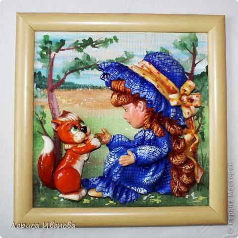 """""""Три орешка для белочки"""" или """"Рыжая Маринка"""", посвящается Марине Васевой, которая, как оказалось, в детстве была хорошенькой рыженькой девочкой))). Размер работы 20х20 см, в качестве трех орешков - три крупинки гречки))) фото 1"""