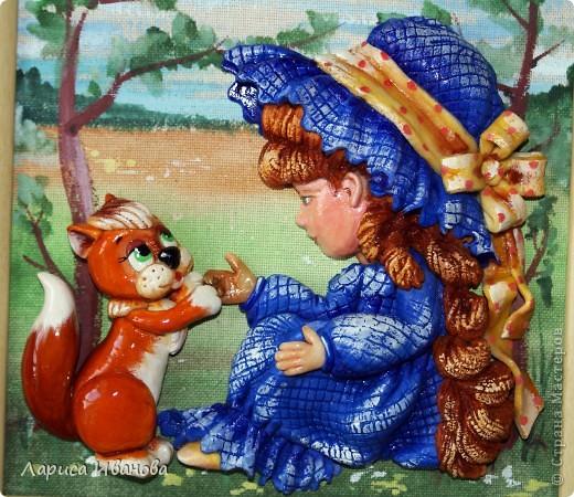 """""""Три орешка для белочки"""" или """"Рыжая Маринка"""", посвящается Марине Васевой, которая, как оказалось, в детстве была хорошенькой рыженькой девочкой))). Размер работы 20х20 см, в качестве трех орешков - три крупинки гречки))) фото 2"""
