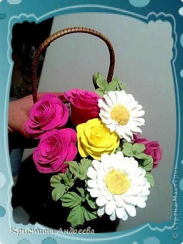 Мои первые  цветы из полимерной глины фото 1