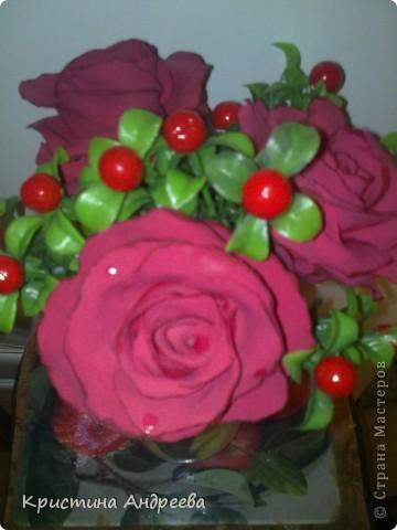 Мои первые  цветы из полимерной глины фото 3