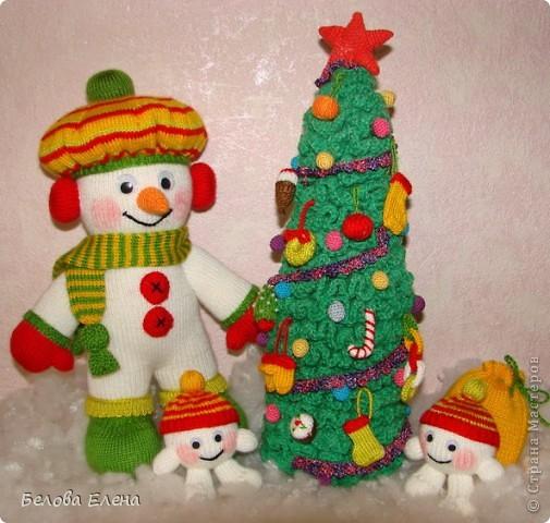 Вязание спицами Снеговик и
