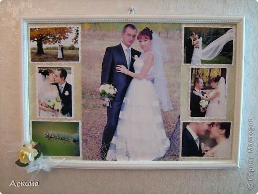 Решила сделать коллаж из свадебных фотографий и поставить в рамку. Хотелось сделать что-то легкое, праздничное и чтобы не отвлекало внимание от самих фотографий. Рамку оформляла исходя от своего свадебного наряда: это жемчуг, сетка, белые голландские розы. фото 1