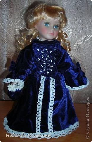 Платье для куклы, бархат.