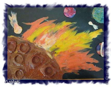 """""""Обратная сторона луны"""" пластилиновая живопись Петров Влад 2-А класс фото 1"""