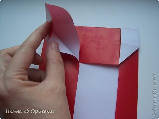 Автор выразительной модели Санты – Сано Сакаи из Японии. Я дополнила эту фигурку сложенной салфеткой и красным носом. В этом случае, персонаж стал чуть больше походить на нашего Деда Мороза. Для модели Деда Мороза и моделей оленей использованы  квадраты одинаковой величины. А вот для коробочек понадобятся квадраты ¼ от такого же размера. фото 12