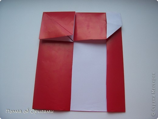 Автор выразительной модели Санты – Сано Сакаи из Японии. Я дополнила эту фигурку сложенной салфеткой и красным носом. В этом случае, персонаж стал чуть больше походить на нашего Деда Мороза. Для модели Деда Мороза и моделей оленей использованы  квадраты одинаковой величины. А вот для коробочек понадобятся квадраты ¼ от такого же размера. фото 13