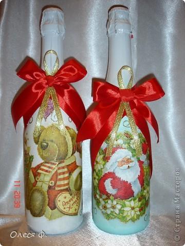 Наконец-то и я сделала бутылочки Новогодние. Пока две!!! фото 1