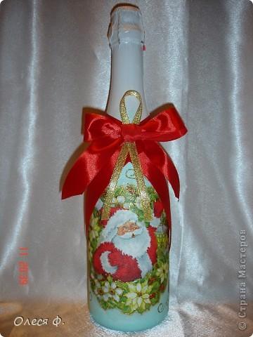 Наконец-то и я сделала бутылочки Новогодние. Пока две!!! фото 2
