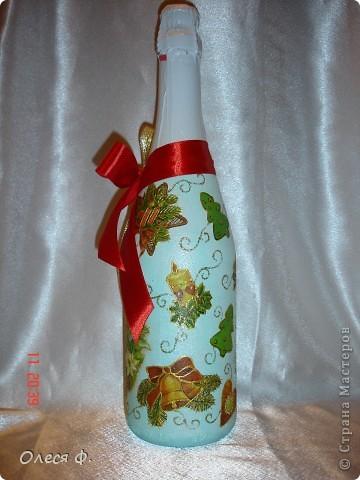 Наконец-то и я сделала бутылочки Новогодние. Пока две!!! фото 3