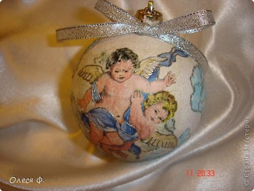 Вот такие шарики Ангелочками. Акрил и рисовая бумага. Ну, и шарики. фото 2