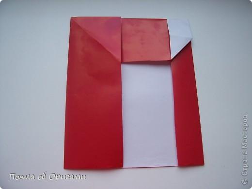 Автор выразительной модели Санты – Сано Сакаи из Японии. Я дополнила эту фигурку сложенной салфеткой и красным носом. В этом случае, персонаж стал чуть больше походить на нашего Деда Мороза. Для модели Деда Мороза и моделей оленей использованы  квадраты одинаковой величины. А вот для коробочек понадобятся квадраты ¼ от такого же размера. фото 9