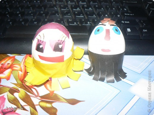 поделки из яичной скорлупы(девочку делала дочка, мальчика делал муж) фото 1