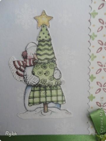 """Открытка """"Снеговик с ёлочкой"""" фото 2"""
