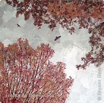 """""""Высоко сижу, далеко гляжу"""" работа выполнена из листьев тополя серебристого и папоротника. фото 2"""