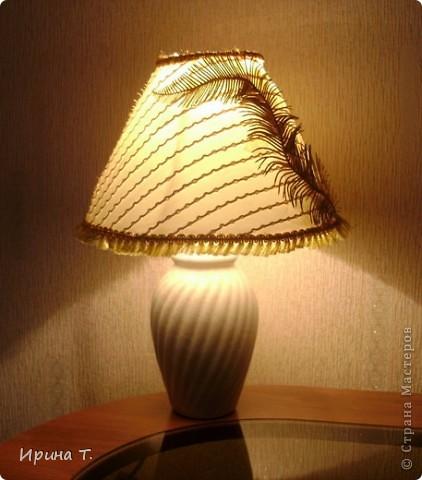 абажур сделан из остактов тюли,кружева и декоративных ветвей. фото 1