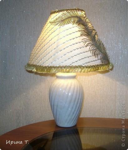 абажур сделан из остактов тюли,кружева и декоративных ветвей. фото 2