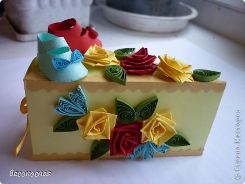 Эта коробочка была подарена на свадьбе, с намеком на скорое пополнение в семействе:) фото 1