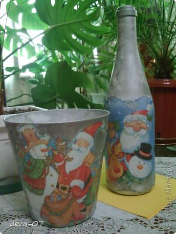 вазочка и бутылка  превратились в новогодние подарки...... фото 1