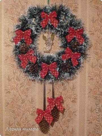 Вот такой Рождественский веночек у меня получился. фото 1