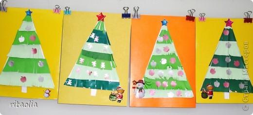 """По МК Бригантины """"Пушистые елочки"""". Спасибо за идею. Елочки выполнили первоклашки. А снеговика сделала ученица 6-ого класса """"А"""" - Воробей Алина. фото 2"""
