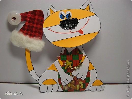 Продолжаем новогоднюю серию открыток. Ребёнок в ударе, решила всем наделать открыток. Эта очень похожа на нашего кота Филимона. фото 1