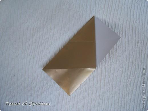 Эта модель содержит боковые карманы. Благодаря им, она запросто разместится на верхней ветке вашей новогодней елки. Эта композиция состоит из двух частей: внешней и внутренней. Все используемые квадраты одного размера (в данном случае 10х10). Для данной звезды было использовано 5 красных квадратов и 15 золотых. В данном варианте, готовая звезда в готовом виде имеет ширину 12-14см. фото 12