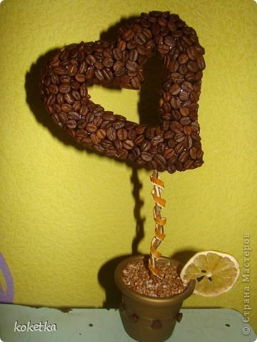 Мои первые две роботы с зернами кофе. Это дерево - сердце и сердце - магнит на холодильник.  фото 2