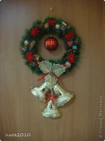 Вы уже были у меня в гостях осенью ( http://stranamasterov.ru/node/111827 ). Сменилось время года, сменился и  интерьер! Итак, зимнее праздничное настроение! Это приемная. Большая звезда покупная, маленькие самодельные. фото 5