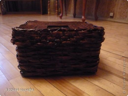Первая плетёная шкатулочка из газет. фото 6