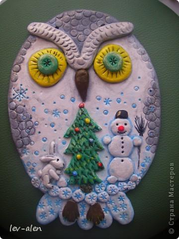 Панно сова сделано для школы. Сова- эмблема нашей школы. Размер 25х18 см фото 1