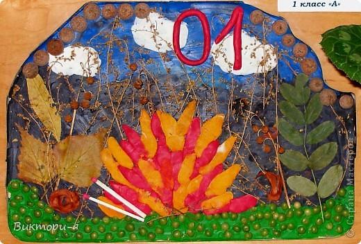 Коллаж из природных материалов.  Выполнена ученицей 1 класса на конкурс.