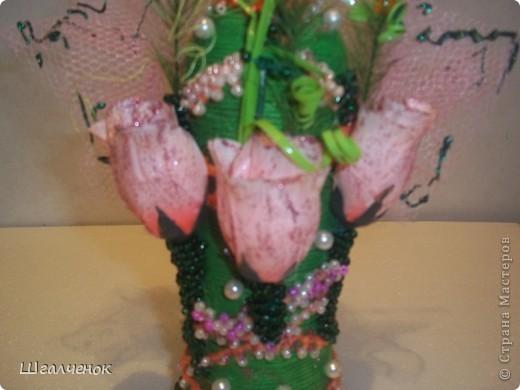 Бутылочка с применением ниток для вязания. фото 3