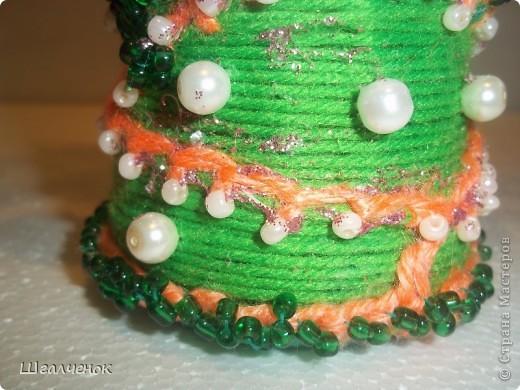 Бутылочка с применением ниток для вязания. фото 9