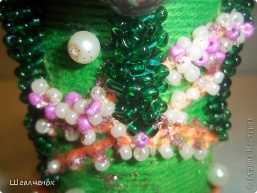 Бутылочка с применением ниток для вязания. фото 4