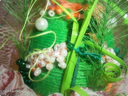 Бутылочка с применением ниток для вязания. фото 5