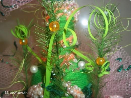 Бутылочка с применением ниток для вязания. фото 6