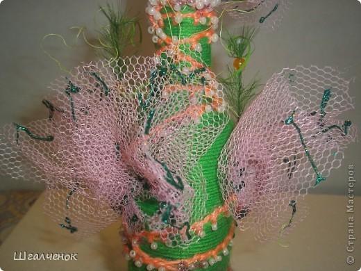 Бутылочка с применением ниток для вязания. фото 8