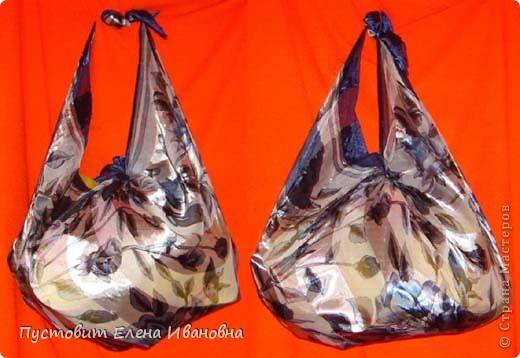 Эти две сумочки сделаны дедовским способом, бытовавшим на Руси с незапамятных времён...  Платок и два узла - вот и все премудрости:))) фото 2