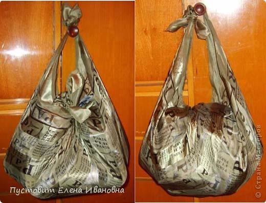 Эти две сумочки сделаны дедовским способом, бытовавшим на Руси с незапамятных времён...  Платок и два узла - вот и все премудрости:))) фото 3