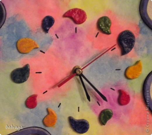 """а вот и вторые мои часы, которые я делала для своей комнаты. когда появился еще один свободный часовой механизм, долго сомневалась какой формы их сделать, наконец придумала такую вот """"кляксу"""" фото 2"""