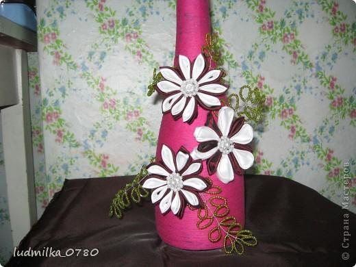 моя первая бутылка с цветами и бисером. фото 2
