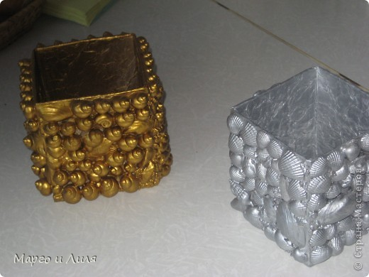 Карандашницы, плошка и рамки из ракушек фото 2