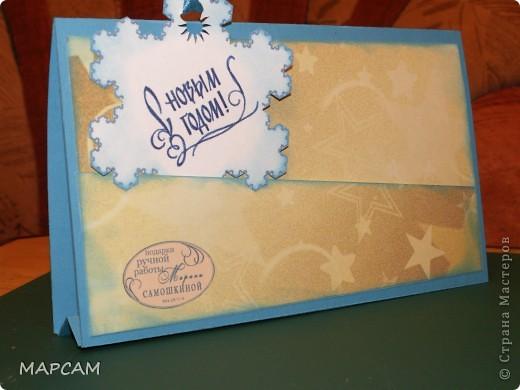 И снова, всем привет!!! От своих коробочек решила вернуться к новогодним открыткам. Очень понравилась идея  с открыткой домиком - и быстро делается и интересно, и симпатично. Первая открытка у меня  со снеговиком, фото 5