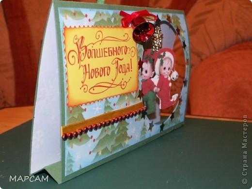И снова, всем привет!!! От своих коробочек решила вернуться к новогодним открыткам. Очень понравилась идея  с открыткой домиком - и быстро делается и интересно, и симпатично. Первая открытка у меня  со снеговиком, фото 4