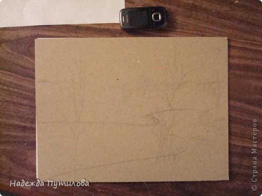 1 этап. Создаем набросок будущей картины на картоне. фото 1