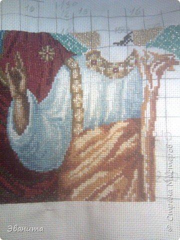 Икона Казанской Божьей Матери. Только сейчас выкладываю готовый вариант в рамке,хотя она несколько лет как подарена родителям. фото 9