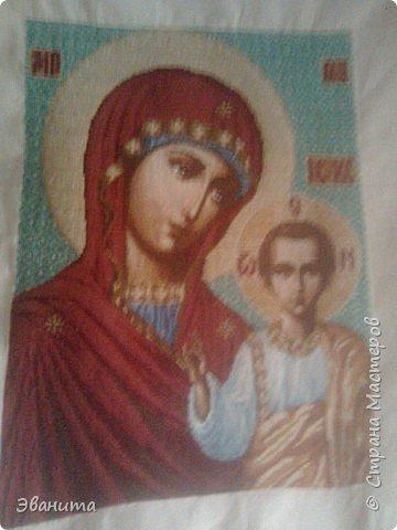 Икона Казанской Божьей Матери. Только сейчас выкладываю готовый вариант в рамке,хотя она несколько лет как подарена родителям. фото 7
