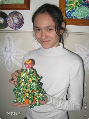 Вот такую елочку я изваяла из карамели с начинкой в подарок подруге. фото 2