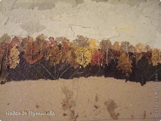 Продолжаем создавать пейзаж. Небо у нас уже готово. Переходим к дальнему плану. В моей картине это лес. Чтобы его создать я вначале переворачиваю все такие же листики тополя серебристого и наклеиваю их черной стороной вверх. фото 7